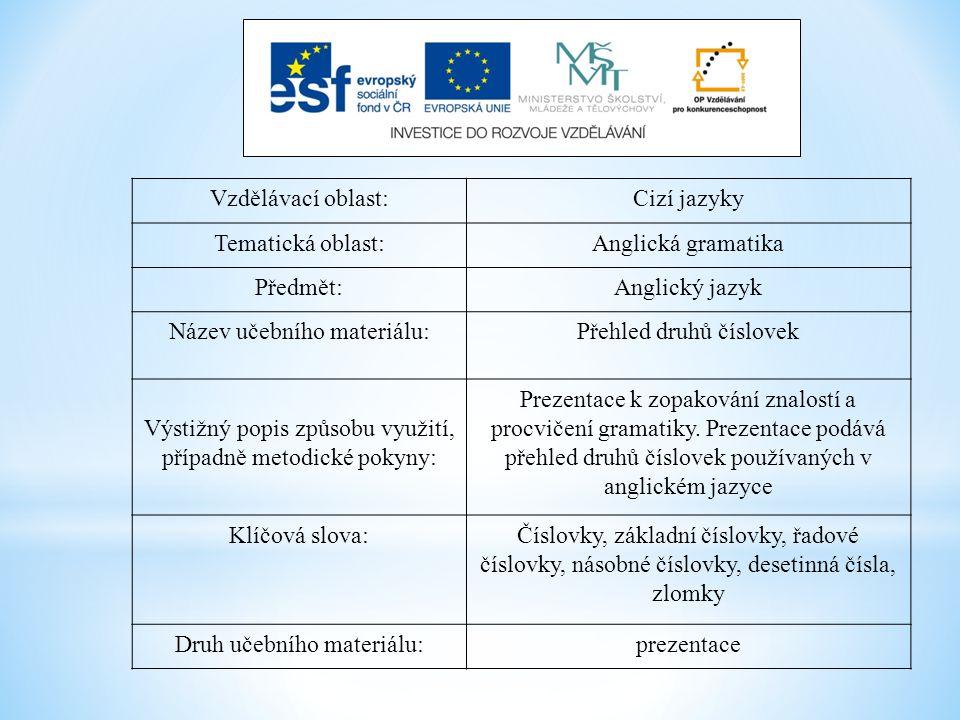 Vzdělávací oblast:Cizí jazyky Tematická oblast:Anglická gramatika Předmět:Anglický jazyk Název učebního materiálu:Přehled druhů číslovek Výstižný popi