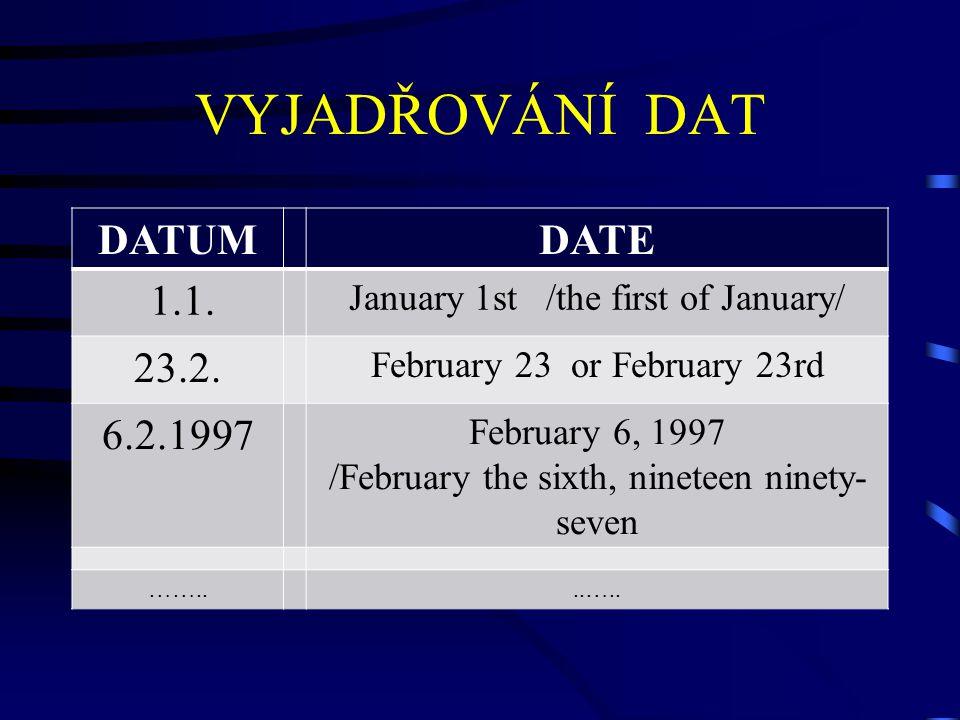 VYJADŘOVÁNÍ DAT DATUMDATE 1.1. January 1st /the first of January/ 23.2. February 23 or February 23rd 6.2.1997 February 6, 1997 /February the sixth, ni