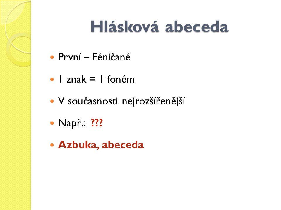 Hlásková abeceda První – Féničané 1 znak = 1 foném V současnosti nejrozšířenější Např.: ??? Azbuka, abeceda