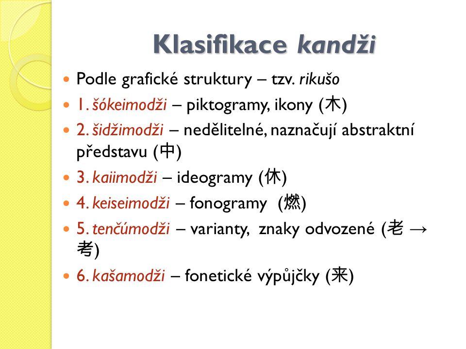 Klasifikace kandži Podle grafické struktury – tzv. rikušo 1. šókeimodži – piktogramy, ikony ( 木 ) 2. šidžimodži – nedělitelné, naznačují abstraktní př