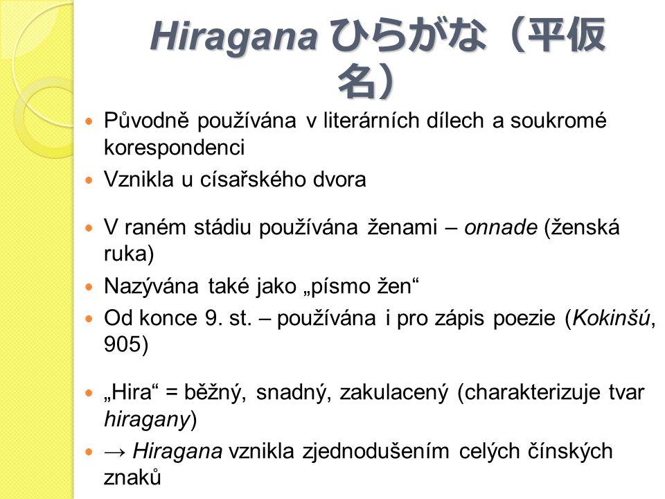Hiragana ひらがな(平仮 名) Původně používána v literárních dílech a soukromé korespondenci Vznikla u císařského dvora V raném stádiu používána ženami – onnad
