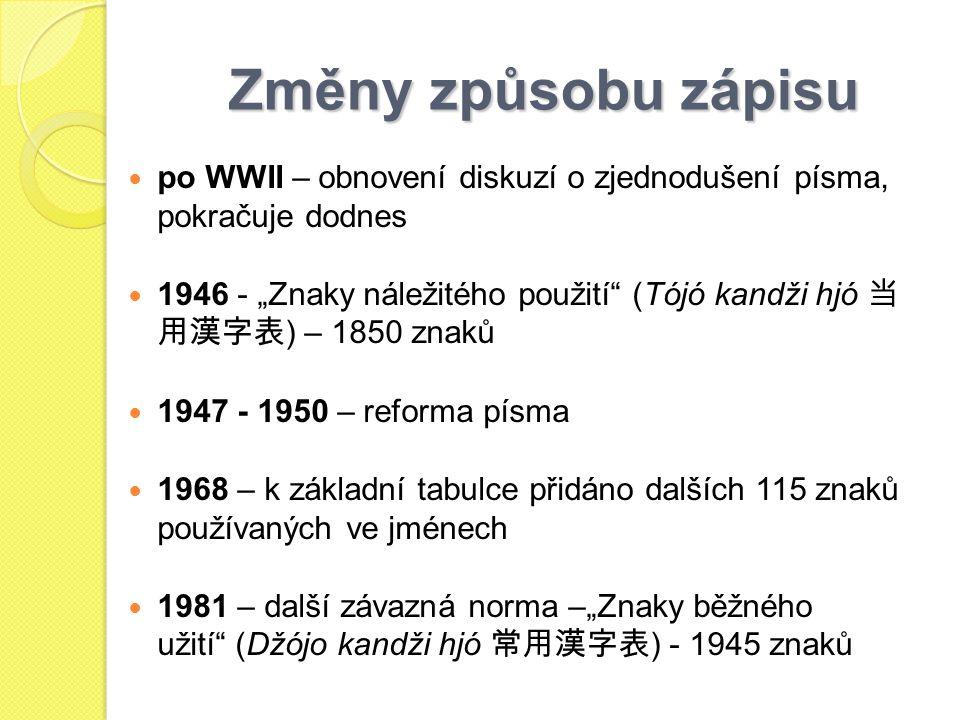 """po WWII – obnovení diskuzí o zjednodušení písma, pokračuje dodnes 1946 - """"Znaky náležitého použití"""" (Tójó kandži hjó 当 用漢字表 ) – 1850 znaků 1947 - 1950"""