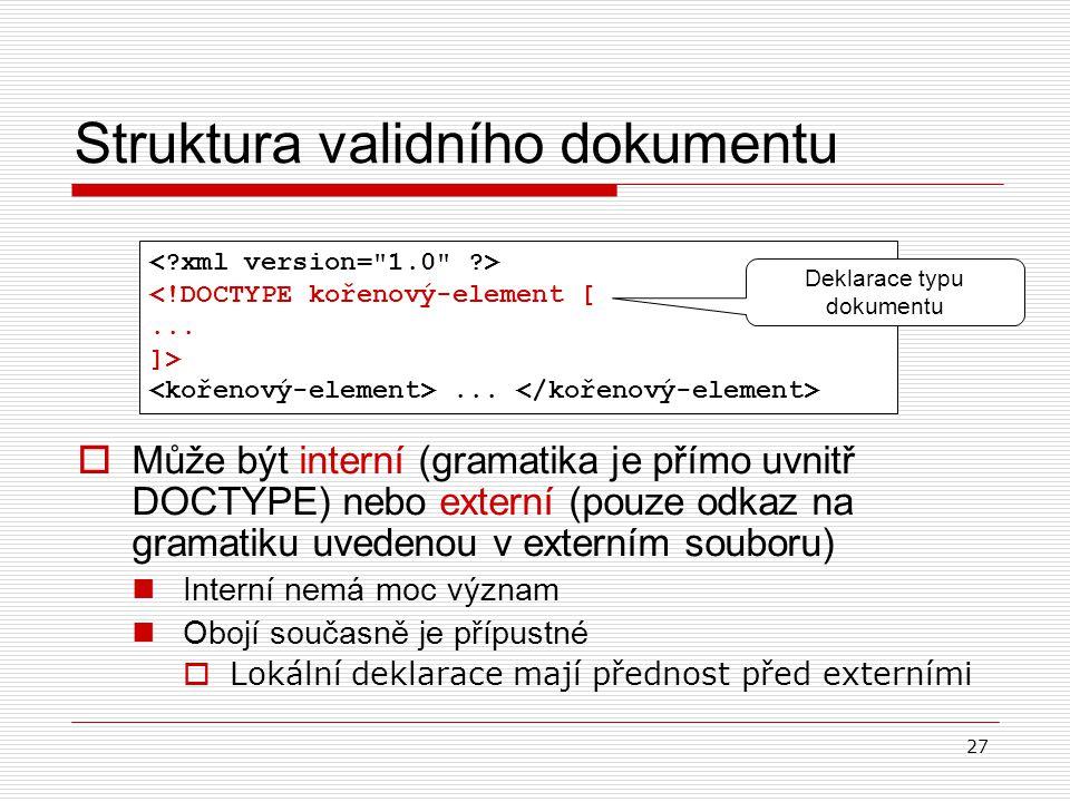 27 Struktura validního dokumentu <!DOCTYPE kořenový-element [... ]>... Deklarace typu dokumentu  Může být interní (gramatika je přímo uvnitř DOCTYPE)