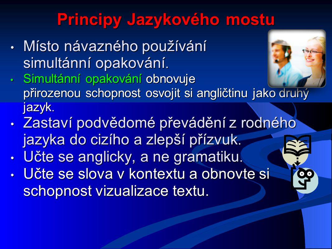 Principy Jazykového mostu Místo návazného používání simultánní opakování.