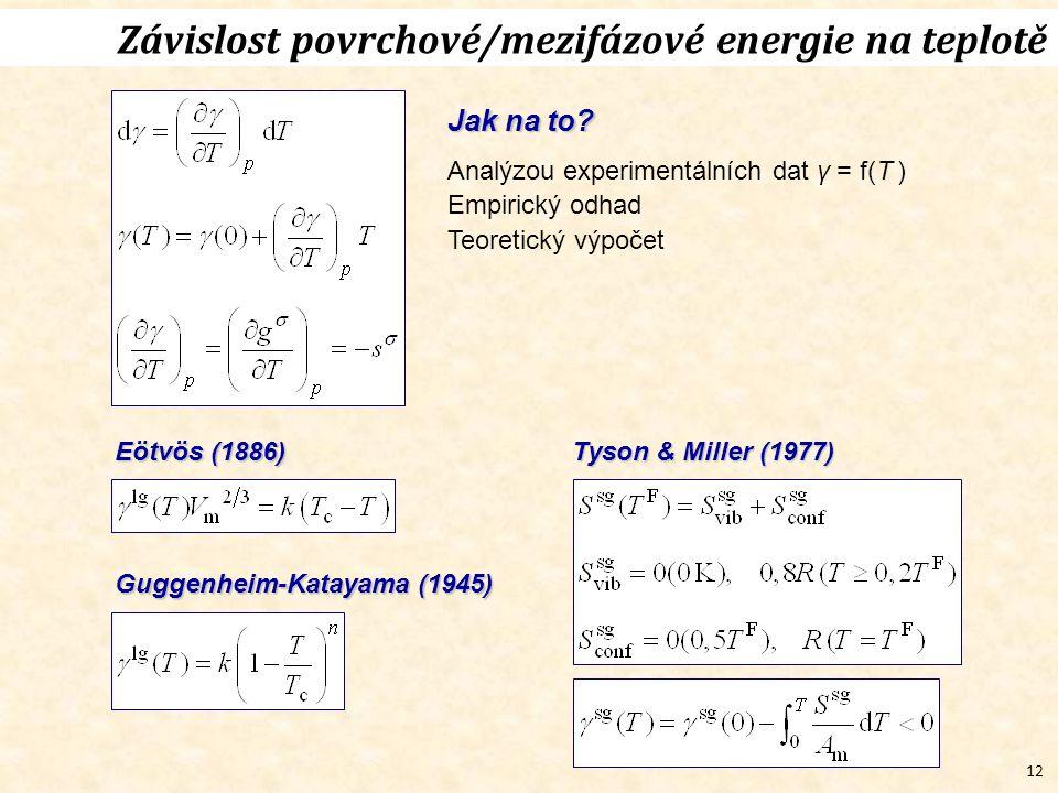 12 Závislost povrchové/mezifázové energie na teplotě Jak na to? Analýzou experimentálních dat γ = f(T ) Empirický odhad Teoretický výpočet Tyson & Mil