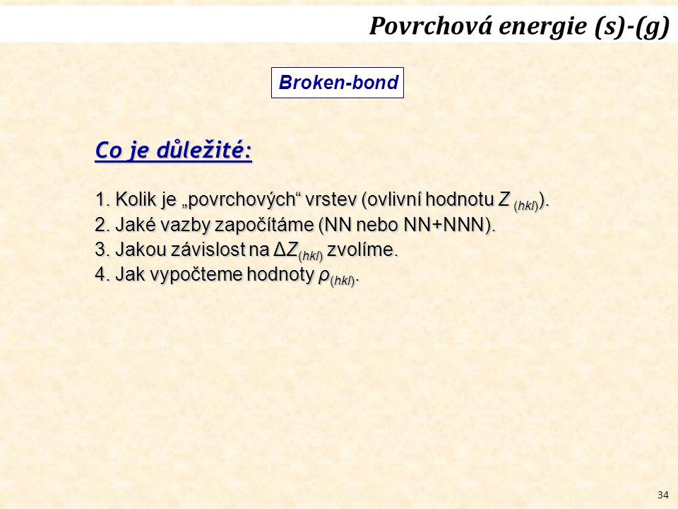 """34 Broken-bond Povrchová energie (s)-(g) Co je důležité: 1. Kolik je """"povrchových"""" vrstev (ovlivní hodnotu Z (hkl) ). 2. Jaké vazby započítáme (NN neb"""