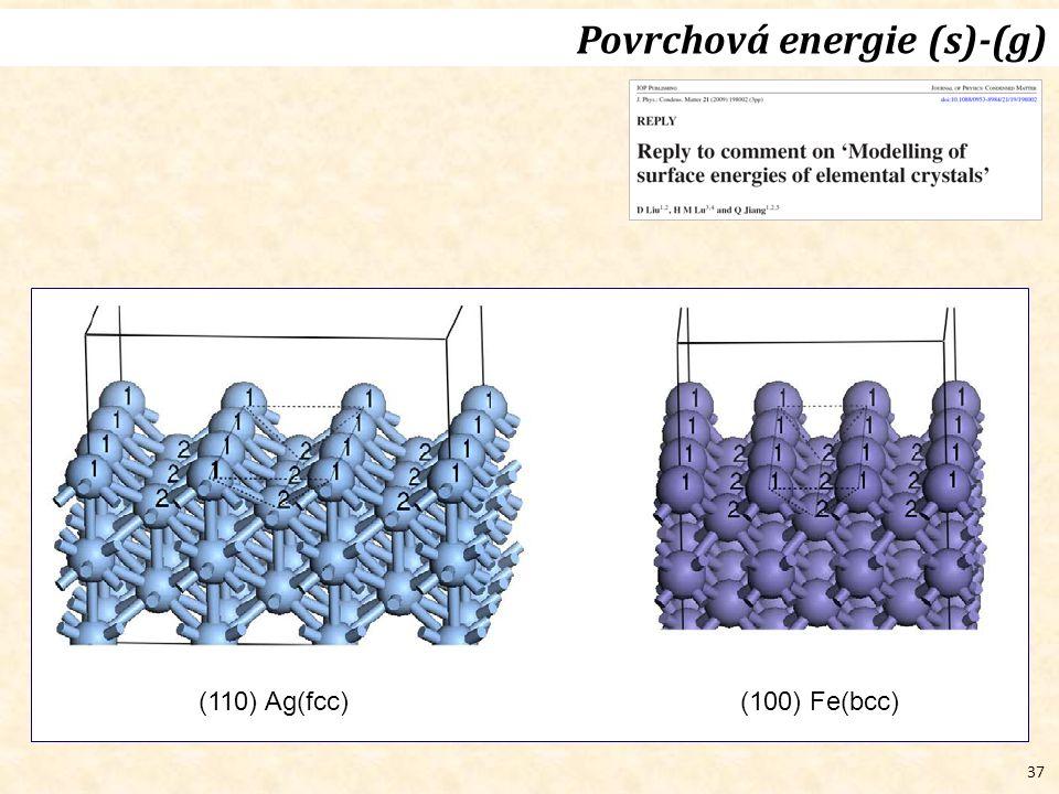 37 Povrchová energie (s)-(g) (110) Ag(fcc)(100) Fe(bcc)