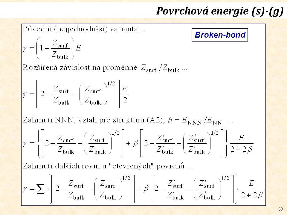 39 Broken-bond Povrchová energie (s)-(g)