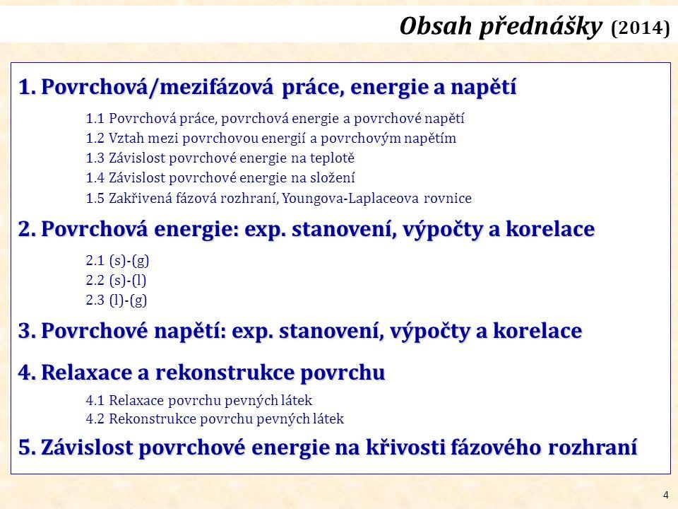 4 Obsah přednášky (2014) 1. Povrchová/mezifázová práce, energie a napětí 1.1 Povrchová práce, povrchová energie a povrchové napětí 1.2 Vztah mezi povr