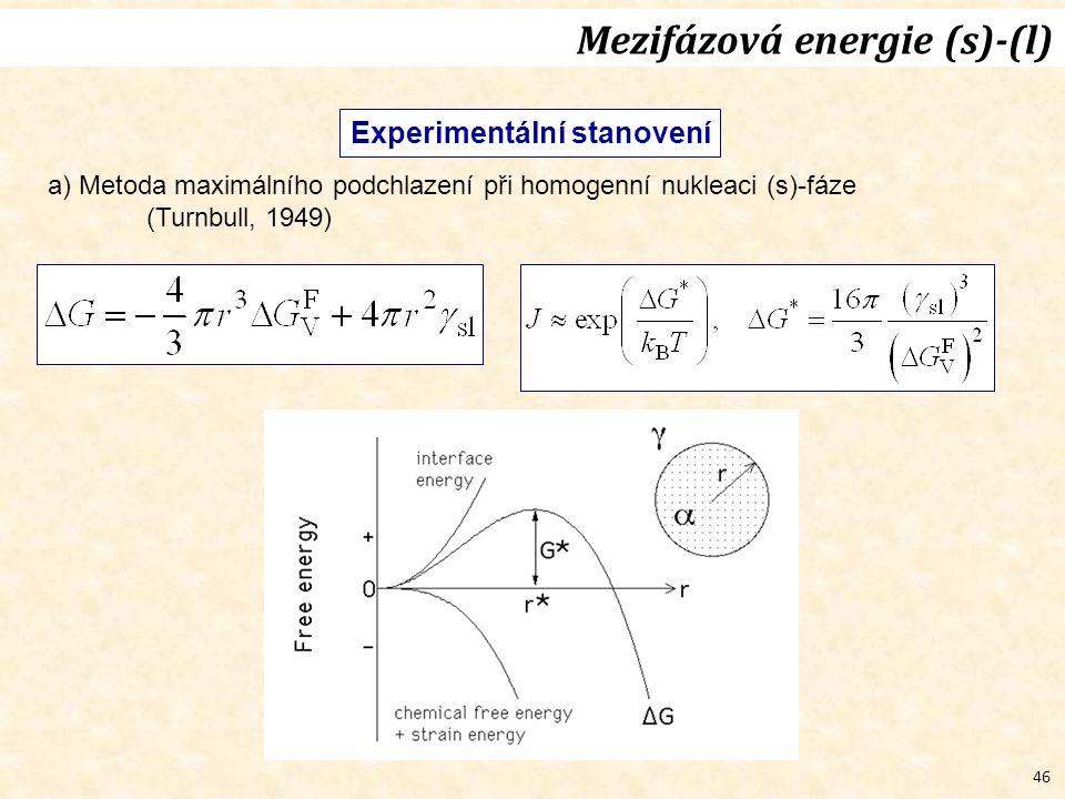 46 Experimentální stanovení a) Metoda maximálního podchlazení při homogenní nukleaci (s)-fáze (Turnbull, 1949) Mezifázová energie (s)-(l)