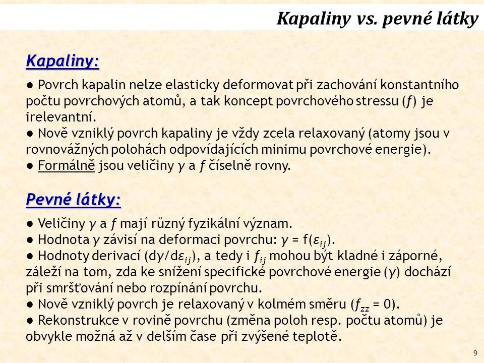 9 Kapaliny vs. pevné látky Kapaliny: ● Povrch kapalin nelze elasticky deformovat při zachování konstantního počtu povrchových atomů, a tak koncept pov
