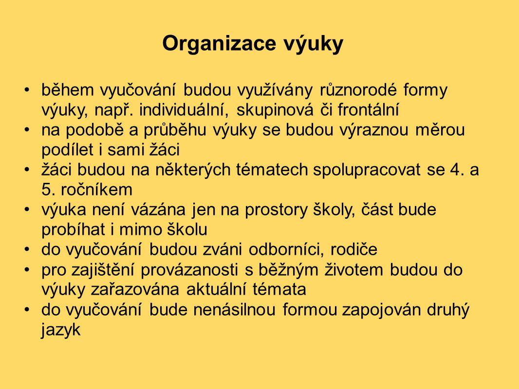 Organizace výuky během vyučování budou využívány různorodé formy výuky, např. individuální, skupinová či frontální na podobě a průběhu výuky se budou
