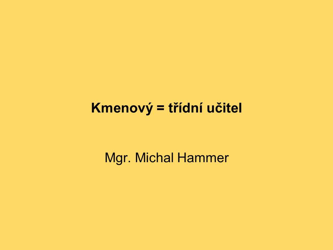 Kmenový = třídní učitel Mgr. Michal Hammer