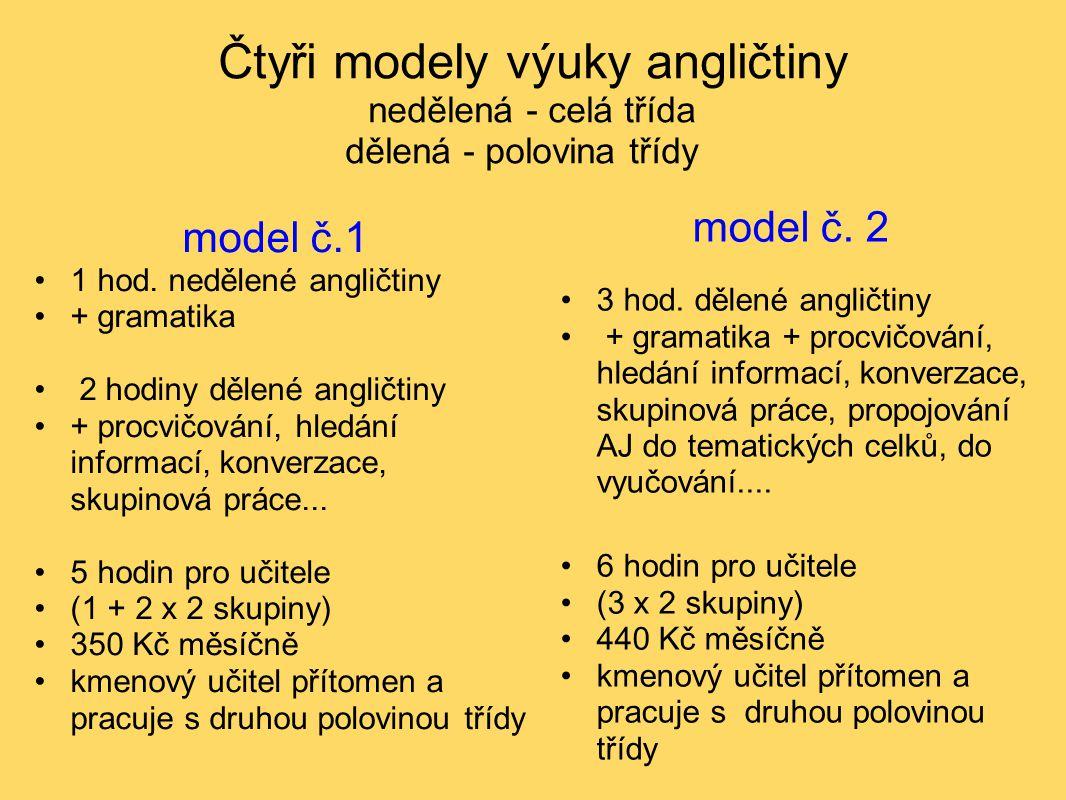 Čtyři modely výuky angličtiny nedělená - celá třída dělená - polovina třídy model č.1 1 hod. nedělené angličtiny + gramatika 2 hodiny dělené angličtin