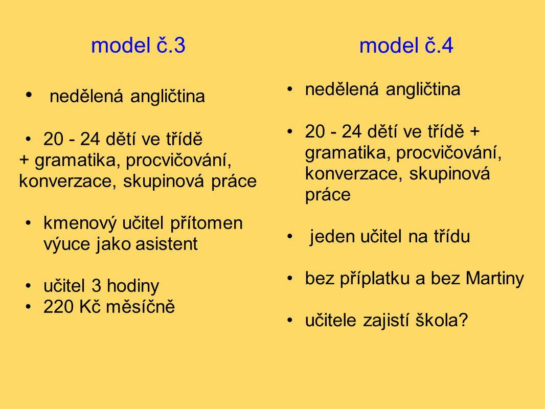 model č.3 nedělená angličtina 20 - 24 dětí ve třídě + gramatika, procvičování, konverzace, skupinová práce kmenový učitel přítomen výuce jako asistent