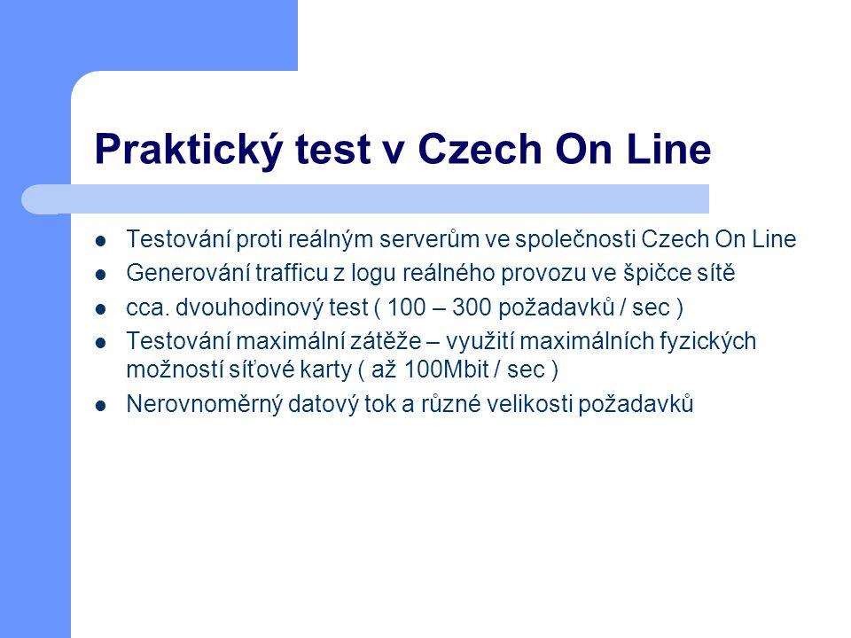Praktický test v Czech On Line Testování proti reálným serverům ve společnosti Czech On Line Generování trafficu z logu reálného provozu ve špičce sítě cca.