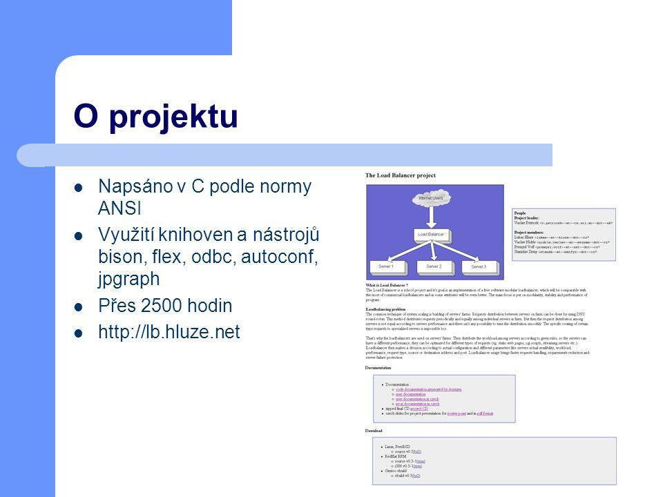 O projektu Napsáno v C podle normy ANSI Využití knihoven a nástrojů bison, flex, odbc, autoconf, jpgraph Přes 2500 hodin http://lb.hluze.net
