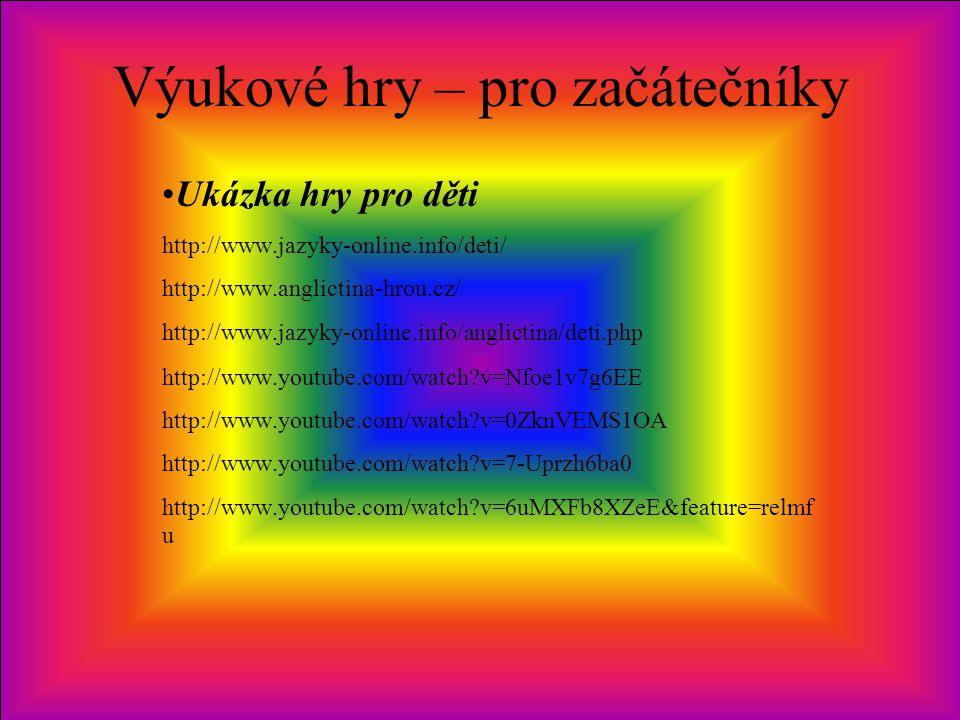 Výukové hry – pro začátečníky Ukázka hry pro děti http://www.jazyky-online.info/deti/ http://www.anglictina-hrou.cz/ http://www.jazyky-online.info/ang