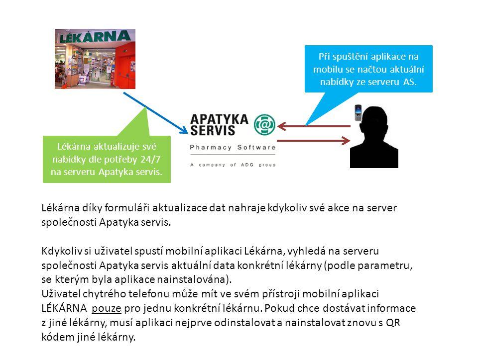 Lékárna aktualizuje své nabídky dle potřeby 24/7 na serveru Apatyka servis. Při spuštění aplikace na mobilu se načtou aktuální nabídky ze serveru AS.