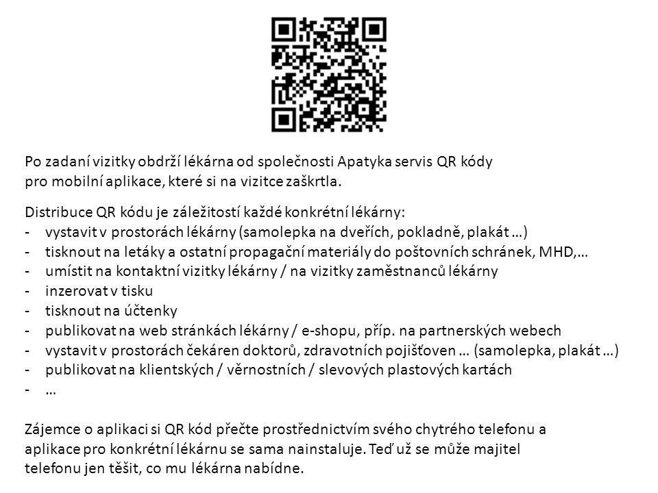 Po zadaní vizitky obdrží lékárna od společnosti Apatyka servis QR kódy pro mobilní aplikace, které si na vizitce zaškrtla. Distribuce QR kódu je zálež