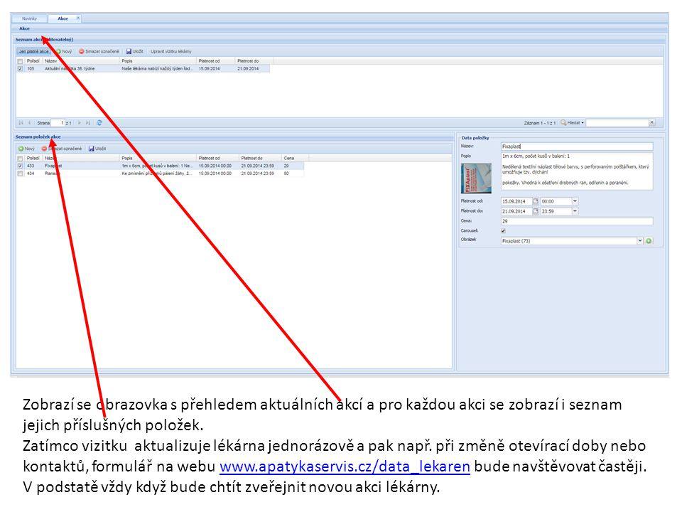 Zobrazí se obrazovka s přehledem aktuálních akcí a pro každou akci se zobrazí i seznam jejich příslušných položek. Zatímco vizitku aktualizuje lékárna