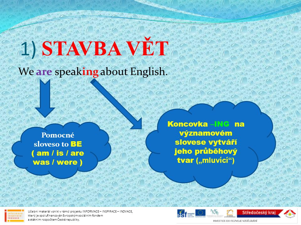 1) STAVBA VĚT We are speaking about English.