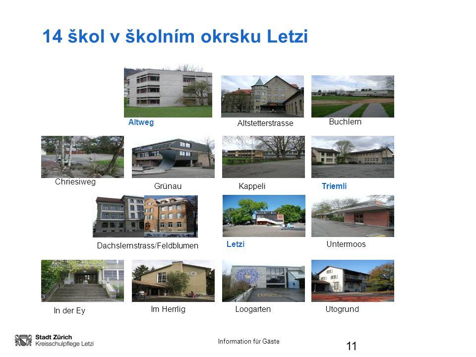 Information für Gäste 14 škol v školním okrsku Letzi 11 Altstetterstrasse Chriesiweg GrünauKappeliTriemli Dachslernstrass/Feldblumen LetziUntermoos Buchlern In der Ey Im HerrligLoogartenUtogrund Altweg