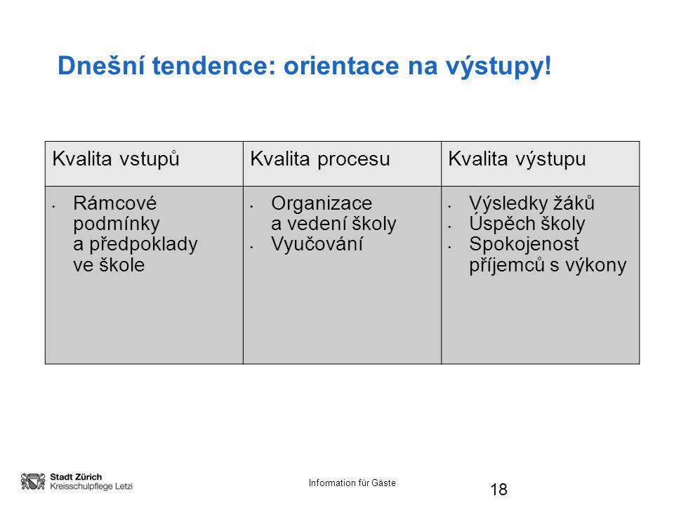 Information für Gäste 18 Dnešní tendence: orientace na výstupy.