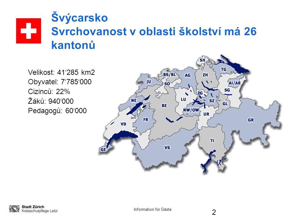 Information für Gäste 2 Švýcarsko Svrchovanost v oblasti školství má 26 kantonů Velikost: 41'285 km2 Obyvatel: 7'785'000 Cizinců: 22% Žáků: 940'000 Pedagogů: 60'000