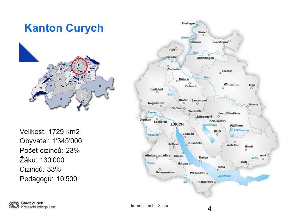 Information für Gäste 4 Kanton Curych Velikost: 1729 km2 Obyvatel: 1'345'000 Počet cizinců: 23% Žáků: 130'000 Cizinců: 33% Pedagogů: 10'500