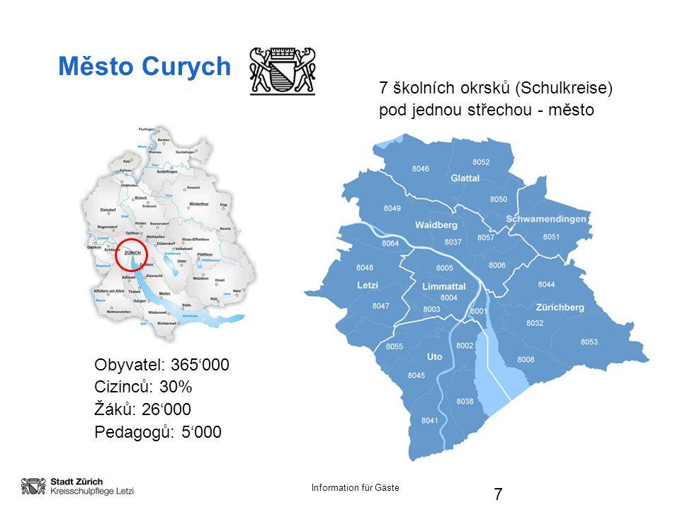 Information für Gäste 7 Město Curych Obyvatel: 365'000 Cizinců: 30% Žáků: 26'000 Pedagogů: 5'000 7 školních okrsků (Schulkreise) pod jednou střechou - město