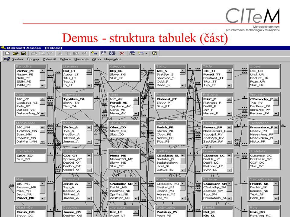 5. - 6.12.2006Archivy, knihovny, muzea v digitálním světě 2006, Mgr.Zdeněk Lenhart, CITeM27 Demus - struktura tabulek (část)