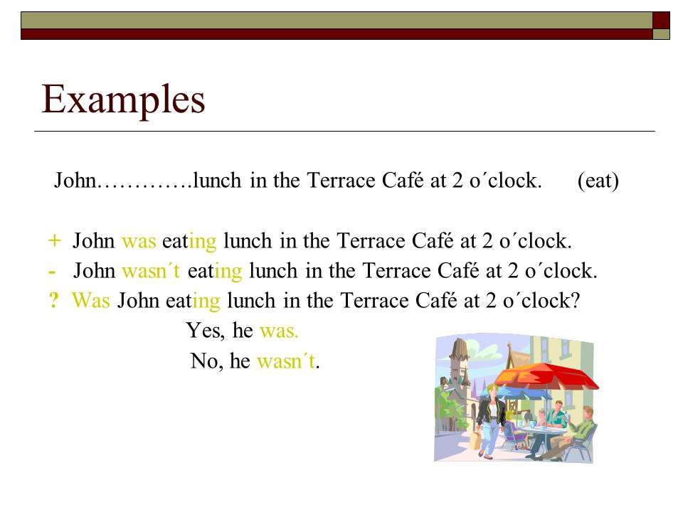 Examples John………….lunch in the Terrace Café at 2 o´clock.