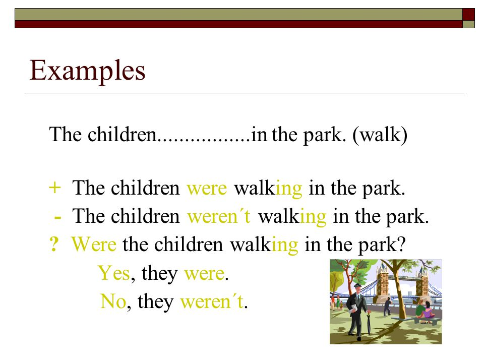 The children.................in the park.(walk) + The children were walking in the park.