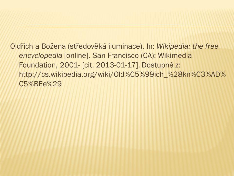 Oldřich a Božena (středověká iluminace).In: Wikipedia: the free encyclopedia [online].
