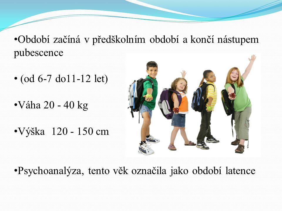 Období začíná v předškolním období a končí nástupem pubescence (od 6-7 do11-12 let) Váha 20 - 40 kg Výška 120 - 150 cm Psychoanalýza, tento věk označi