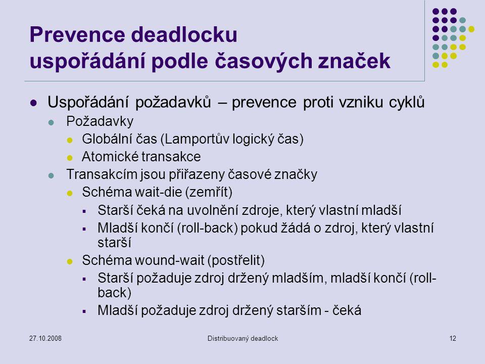 27.10.2008Distribuovaný deadlock12 Prevence deadlocku uspořádání podle časových značek Uspořádání požadavků – prevence proti vzniku cyklů Požadavky Gl