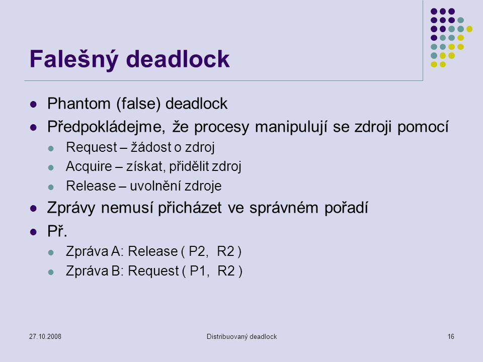 27.10.2008Distribuovaný deadlock16 Falešný deadlock Phantom (false) deadlock Předpokládejme, že procesy manipulují se zdroji pomocí Request – žádost o zdroj Acquire – získat, přidělit zdroj Release – uvolnění zdroje Zprávy nemusí přicházet ve správném pořadí Př.