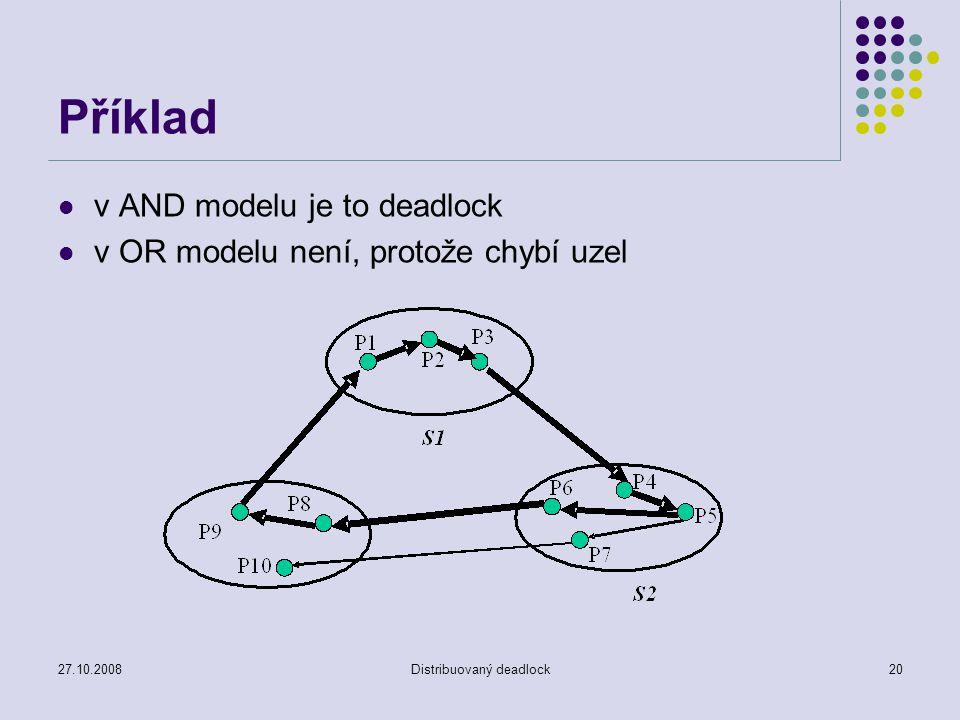27.10.2008Distribuovaný deadlock20 Příklad v AND modelu je to deadlock v OR modelu není, protože chybí uzel