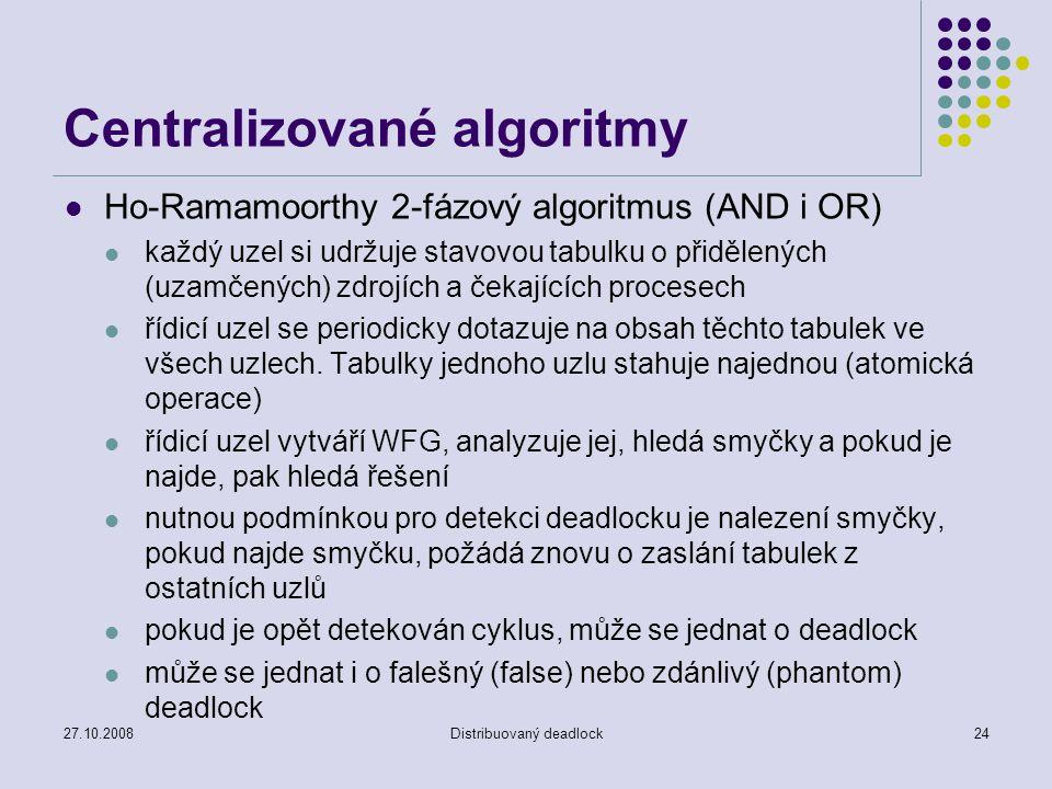 27.10.2008Distribuovaný deadlock24 Centralizované algoritmy Ho-Ramamoorthy 2-fázový algoritmus (AND i OR) každý uzel si udržuje stavovou tabulku o přidělených (uzamčených) zdrojích a čekajících procesech řídicí uzel se periodicky dotazuje na obsah těchto tabulek ve všech uzlech.