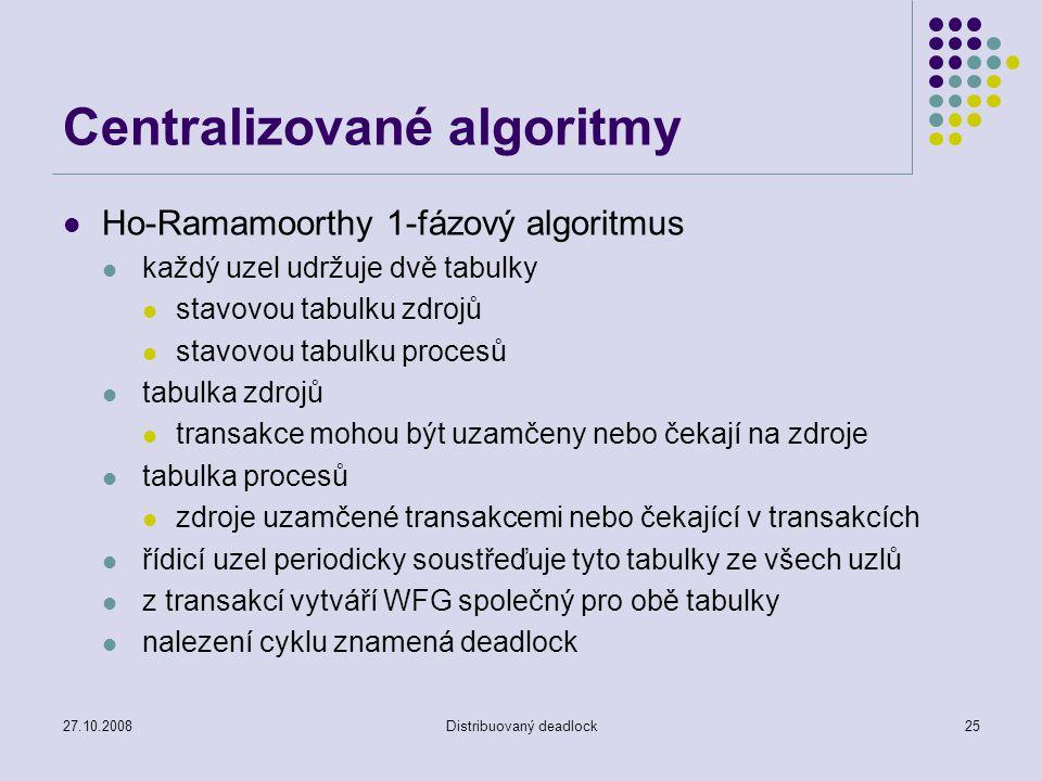 27.10.2008Distribuovaný deadlock25 Centralizované algoritmy Ho-Ramamoorthy 1-fázový algoritmus každý uzel udržuje dvě tabulky stavovou tabulku zdrojů stavovou tabulku procesů tabulka zdrojů transakce mohou být uzamčeny nebo čekají na zdroje tabulka procesů zdroje uzamčené transakcemi nebo čekající v transakcích řídicí uzel periodicky soustřeďuje tyto tabulky ze všech uzlů z transakcí vytváří WFG společný pro obě tabulky nalezení cyklu znamená deadlock