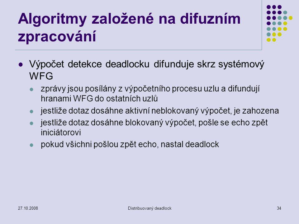 27.10.2008Distribuovaný deadlock34 Algoritmy založené na difuzním zpracování Výpočet detekce deadlocku difunduje skrz systémový WFG zprávy jsou posílány z výpočetního procesu uzlu a difundují hranami WFG do ostatních uzlů jestliže dotaz dosáhne aktivní neblokovaný výpočet, je zahozena jestliže dotaz dosáhne blokovaný výpočet, pošle se echo zpět iniciátorovi pokud všichni pošlou zpět echo, nastal deadlock