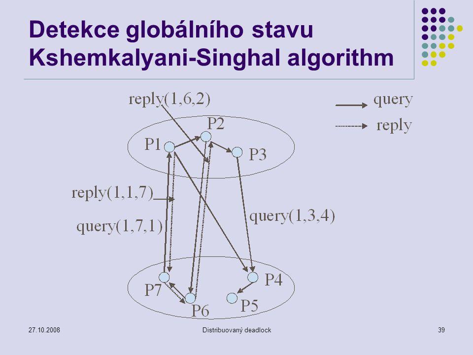 27.10.2008Distribuovaný deadlock39 Detekce globálního stavu Kshemkalyani-Singhal algorithm