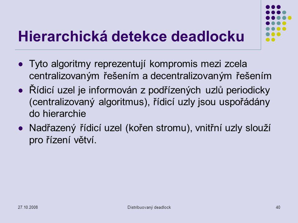 27.10.2008Distribuovaný deadlock40 Hierarchická detekce deadlocku Tyto algoritmy reprezentují kompromis mezi zcela centralizovaným řešením a decentral
