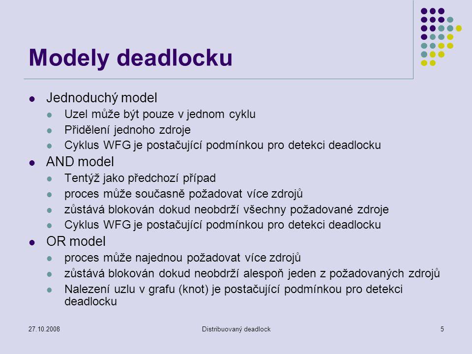 27.10.2008Distribuovaný deadlock5 Modely deadlocku Jednoduchý model Uzel může být pouze v jednom cyklu Přidělení jednoho zdroje Cyklus WFG je postačující podmínkou pro detekci deadlocku AND model Tentýž jako předchozí případ proces může současně požadovat více zdrojů zůstává blokován dokud neobdrží všechny požadované zdroje Cyklus WFG je postačující podmínkou pro detekci deadlocku OR model proces může najednou požadovat více zdrojů zůstává blokován dokud neobdrží alespoň jeden z požadovaných zdrojů Nalezení uzlu v grafu (knot) je postačující podmínkou pro detekci deadlocku