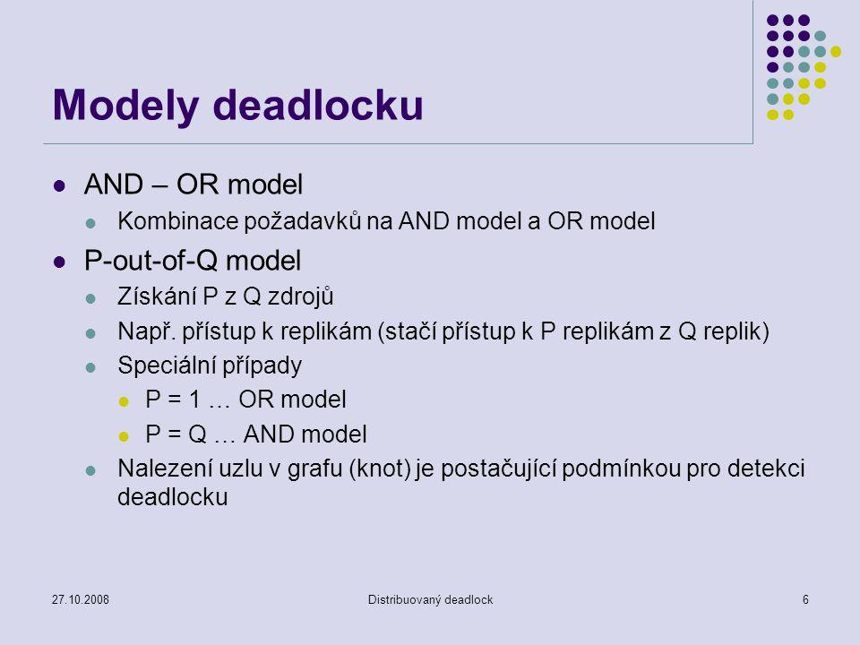 27.10.2008Distribuovaný deadlock6 Modely deadlocku AND – OR model Kombinace požadavků na AND model a OR model P-out-of-Q model Získání P z Q zdrojů Např.