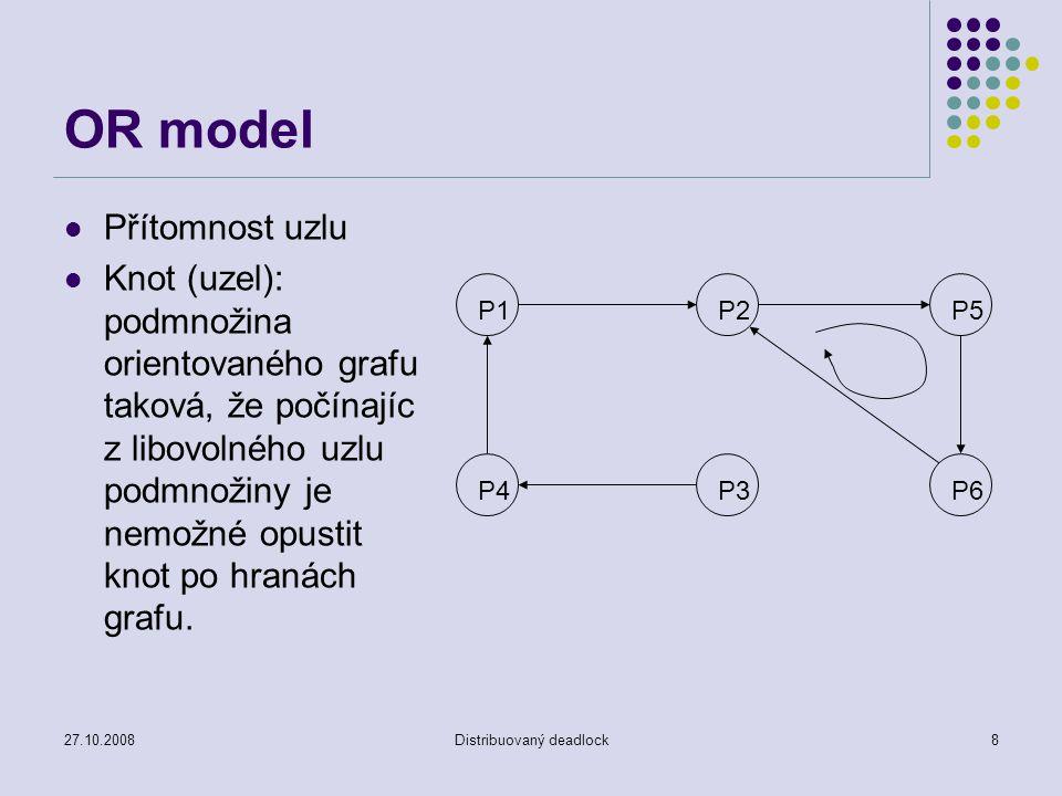 27.10.2008Distribuovaný deadlock8 OR model Přítomnost uzlu Knot (uzel): podmnožina orientovaného grafu taková, že počínajíc z libovolného uzlu podmnožiny je nemožné opustit knot po hranách grafu.