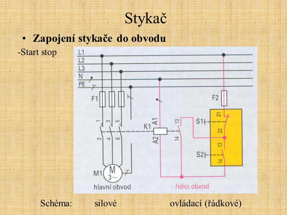 Stykač Zapojení stykače do obvodu -Start stop Schéma: silové ovládací (řádkové)
