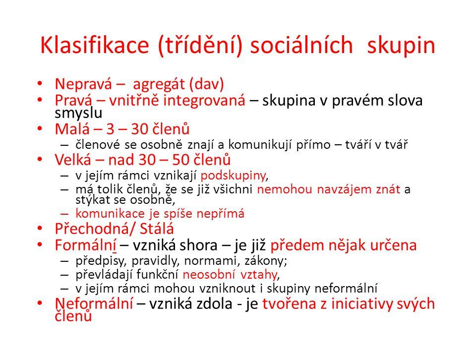 Klasifikace (třídění) sociálních skupin Nepravá – agregát (dav) Pravá – vnitřně integrovaná – skupina v pravém slova smyslu Malá – 3 – 30 členů – člen