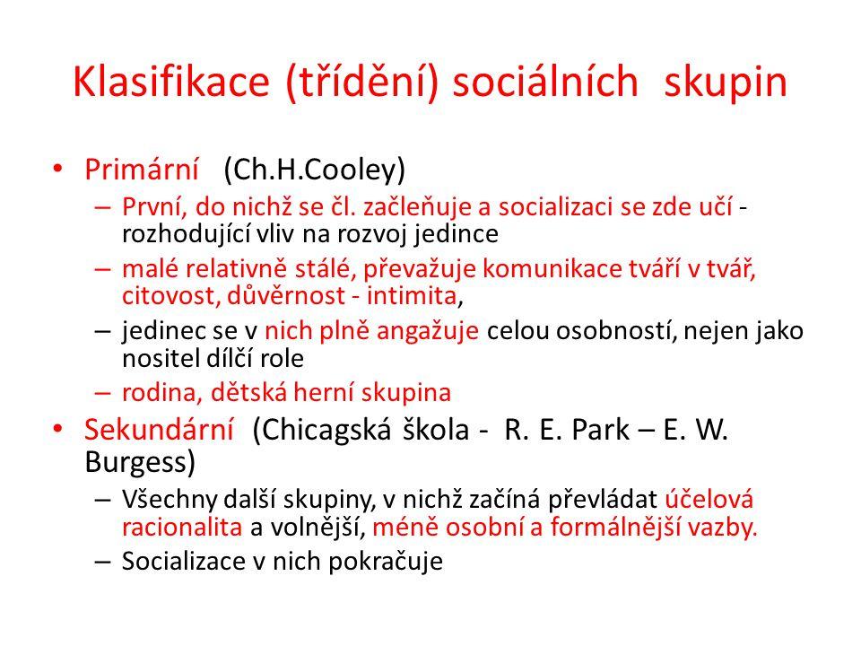 Klasifikace (třídění) sociálních skupin Primární (Ch.H.Cooley) – První, do nichž se čl. začleňuje a socializaci se zde učí - rozhodující vliv na rozvo